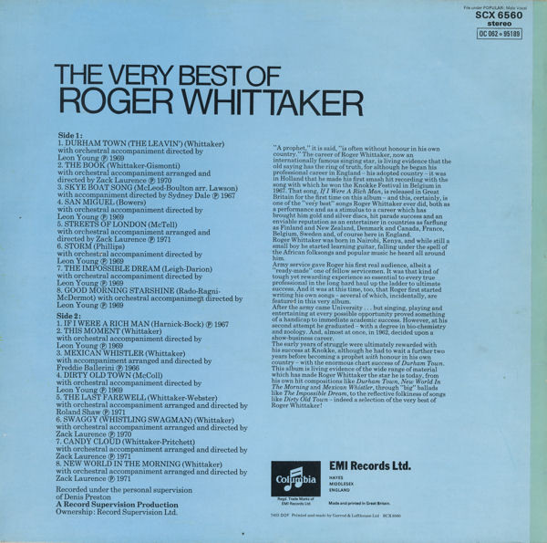 Roger Whittaker The Very Best Of Roger Whittaker Vinyl